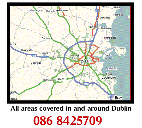 All areas in and around Dublin covered for appliance repairs by A1 Power Logic - phone 086 8425709